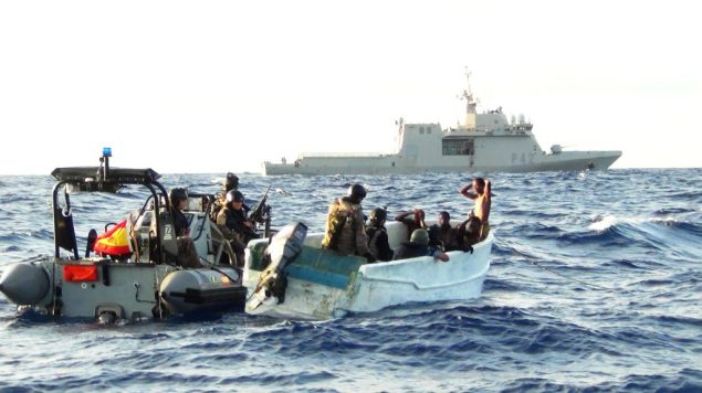A boarding team from Spanish EU NAVFOR warship ESPS Rayo board a suspicious skiff in the Gulf of Aden. File photo courtesy EU NAVFOR