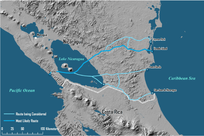 Proposed routes for the Nicaraguan Canal. Map courtesy Hoftra.edu