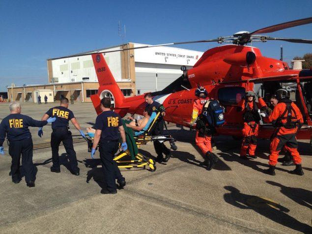 The Coast Guard medevaced four people from a vessel fire 35 miles southwest of Grand Isle, La., Dec. 1, 2014. U.S. Coast Guard Photo