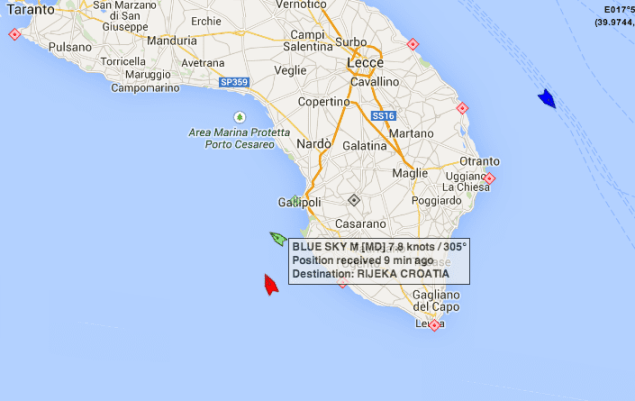 Location of the Blue Sky M (green icon) at 23:41 UTC on December 30, 2014. Map courtesy MarineTraffic.com