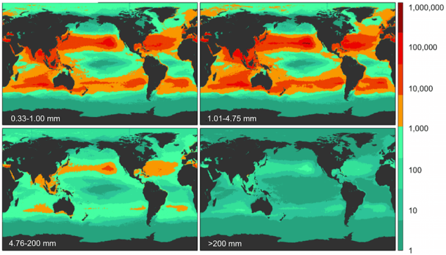 The study looked at four size classes, two microplastic 4.75 mm. Model results for global count density in four size classes. Illustration: PLOS One