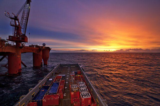 platform supply vessel north sea sunrise sunset