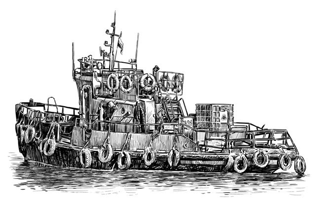 tugboat drawing tugs