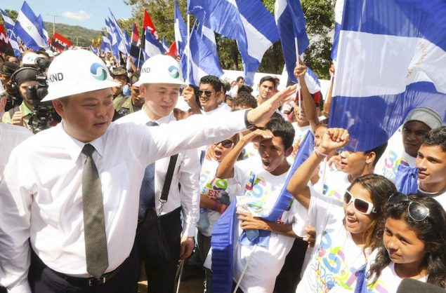 HK Nicaragua Canal Development Investment Co Ltd (HKND Group) Chairman Wang Jing greets youths during the start of the first works of the Interoceanic Grand Canal in Brito town December 22, 2014. REUTERS/Jairo Cajina/Presidential Palace Nicaragua/Handout