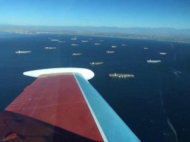 Photos of ships at anchor outside Ports of LA/LB.