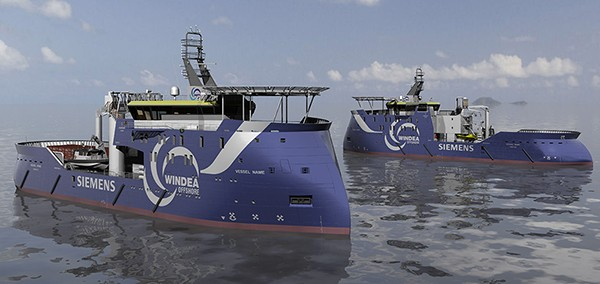 An illustration of the ULSTEIN SX175 offshore wind service vessels for WindSea. Illuatrations courtesy Ulstein