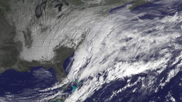 A winter storm approaching the eastern United States is seen in a NOAA GOES satellite image released January 26, 2015. REUTERS/NOAA/Handout via Reuters