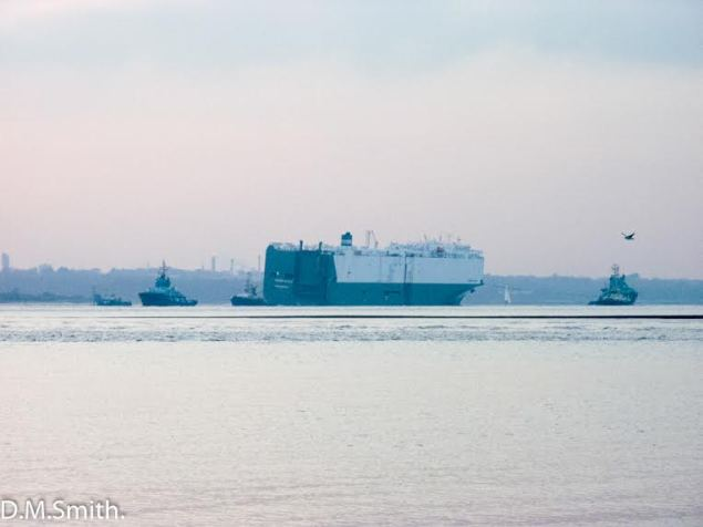 The Hoegh Osaka car carrier under tow back to Southampton, January 22, 2015. Photo (c) D.M. Smith