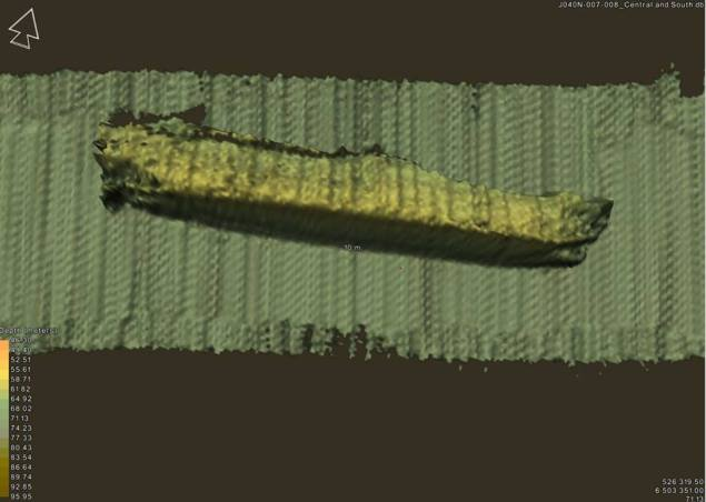 Sonar image shows the MV Cemfjord wreckage. Image credit: MAIB