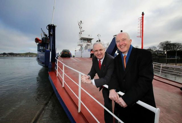 Northern Ireland Executive Transport Minister Danny Kennedy, left, with Cammell Laird Director Rob McBurney