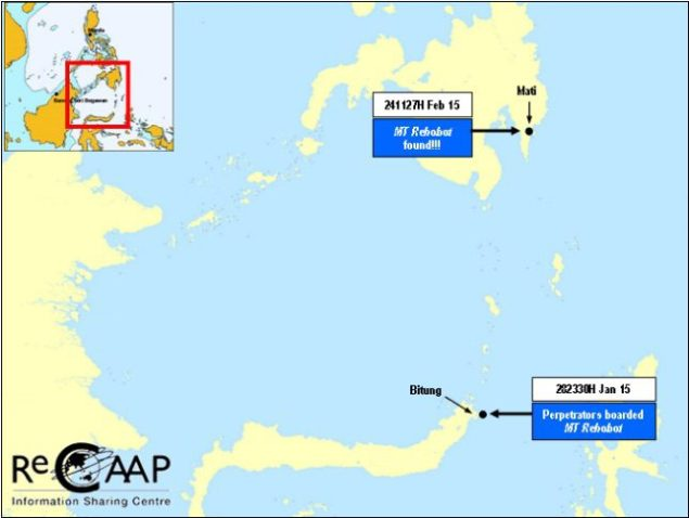 Locations of the Jan 28 boarding and Feb 24 discovery of the MT Rehobot. Map courtesy ReCAAP