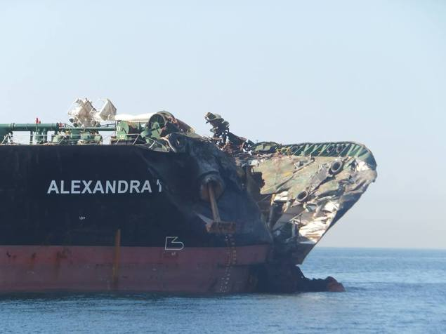 Damage to the Alexander 1 following the February 11, 2015 collision. Photo courtesy MAIB