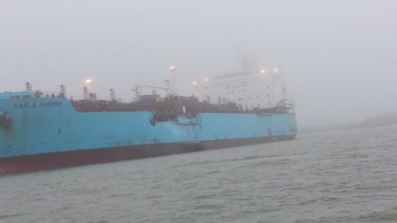 The chemical tanker Carla Maersk sits at anchor off Morgans Point, Texas, after being involved in a collision with the bulk carrier Conti Peridot March 9, 2015. U.S. Coast Guard Photo