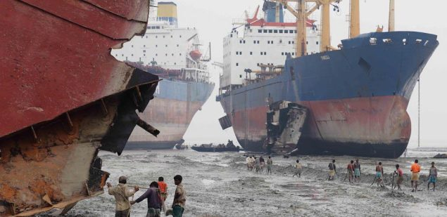 Shipbreaking at Alang, India.