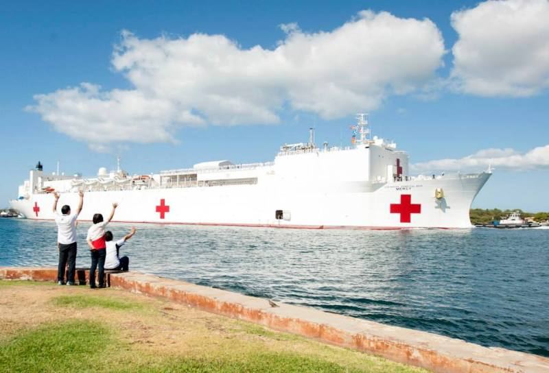 USNS Mercy (T-AH 19) arrives at Joint Base Pearl Harbor-Hickam to support Pacific Partnership 2015, May 25, 2015.