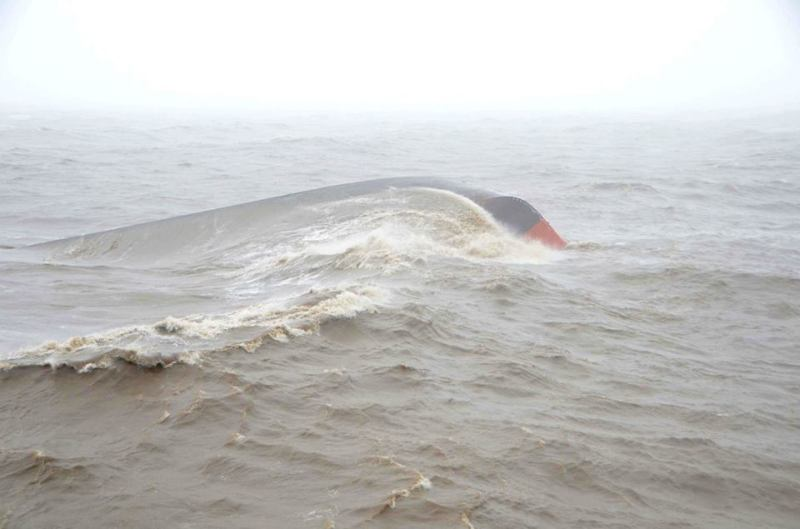 The bottom of the MV Coastal Trader after capsizing. Photo: India Ministry of Defence