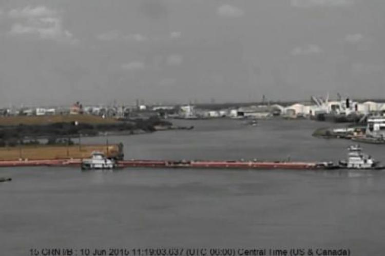 Coast Guard Vessel Traffic Service Houston video of the barge impact on the Houston Ship Channel. U.S. Coast Guard video.