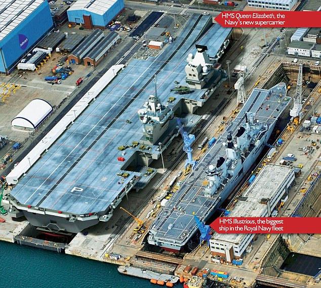 HMS Queen Elizabeth next to the current largest ship in the fleet HMS illustrious.