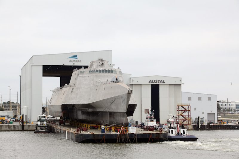 USS Gabrielle Giffords (LCS 10) rolls out of Austal USA's facility, February 25, 2015. Photo: Austal USA