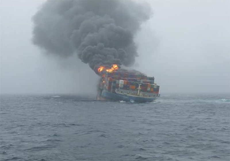 The forward section of the MOL Comfort on fire in the Indian Ocean, July 2013.