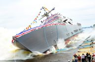 Ship Photos of the Day – LCS 9 Christening and Launch at Marinette Marine