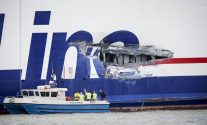 A hole on the side of Stena Line passenger ferry Stena Jutlandica is being inspected in the harbour of Gothenburg