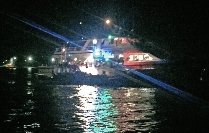 The Coast Guard rescued 113 people from a grounded charter vessel near Woods Hole, Mass., Tuesday at about 11:30 p.m.. Photo: U.S. Coast Guard