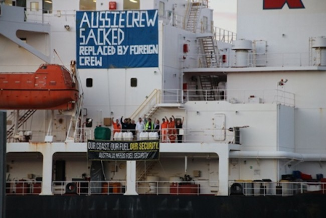 The crew of the Alexander Spirit on strike in Devonport. Photo: MUA