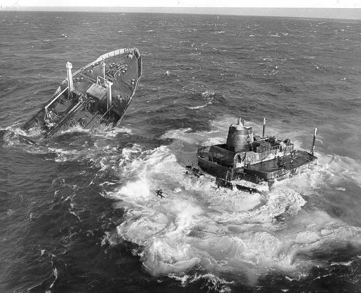The wreck of the Liberian tanker Argo Merchant off Nantucket, 1976. U.S. Coast Guard Photo