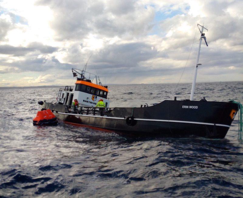 Waterlogged tanker Erin Wood. Credit: RNLI/Peterhead