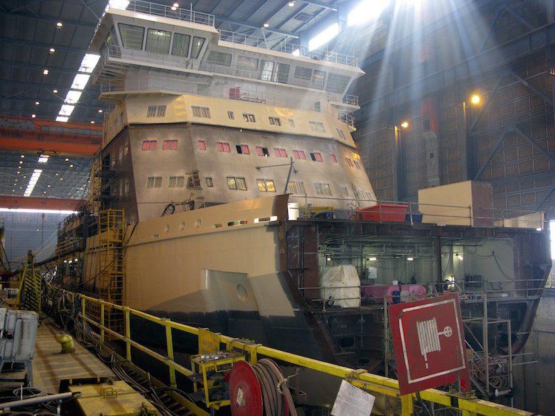 An icebreaker built for the Finnish government is seen at Arctech Helsinki Shipyard in Helsinki, Finland, September 10, 2015. REUTERS/Jussi Rosendahl