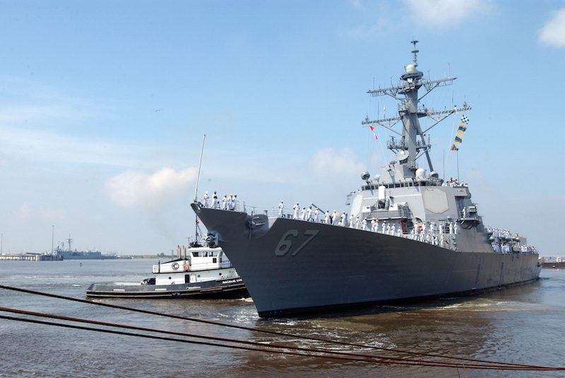 USS Cole (DDG 67) returns to sea after being repaired at Northrop Grumman Ship Systems (NGSS) in Pascagoula, Mississippi, April 19, 2002. U.S. Navy Photo