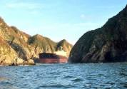 Grounded Bulk Carrier Left Stranded Along Mexico's Rocky Coast