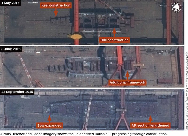 Satellite imagery released by IHS Jane's on October 1, 2015 showing the building of China's first aircraft carrier at a Dalian shipyard in northern China. REUTERS/ ©CNES 2015, Distribution Airbus DS / ©2015 IHS