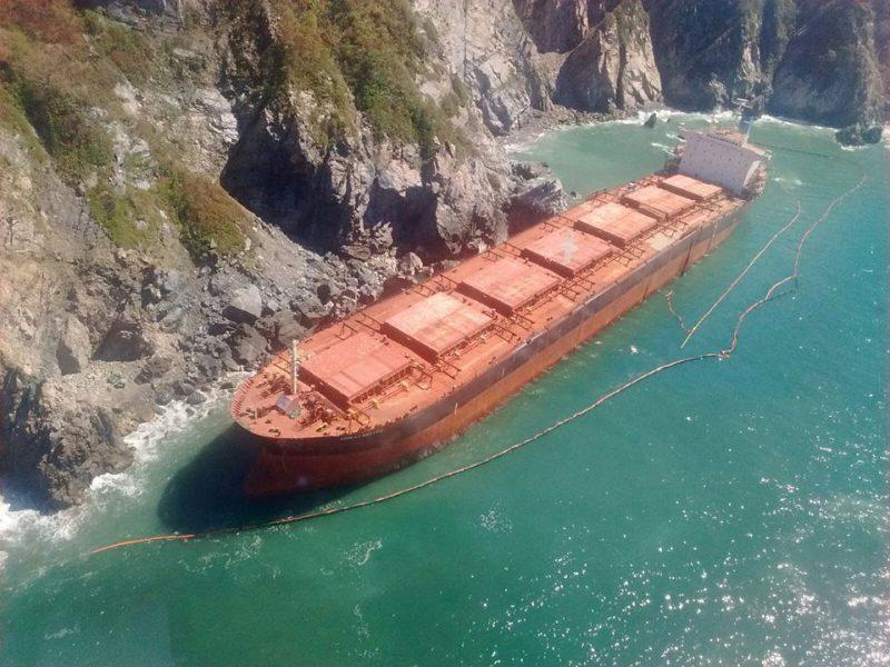 The 223-meter bulk carrier Los Llanitos aground in Barra de Navidad, Jalisco. Photo: PROFEPA