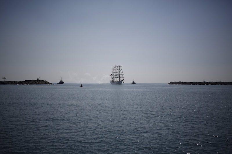Mexico's naval training ship ARM Cuauhtemoc arrives at Puerto Quetzal, Guatemala