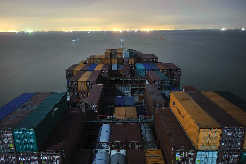 Outbound containership on the Houston Ship Channel. Photo: Lou Vest - Houston Pilots Association