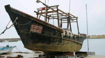 Unidentified wooden boat which was found in the sea off Noto Peninsula, is seen in Wajima, Japan, in this photo taken by Kyodo November 29, 2015.  Reuters/Kyodo