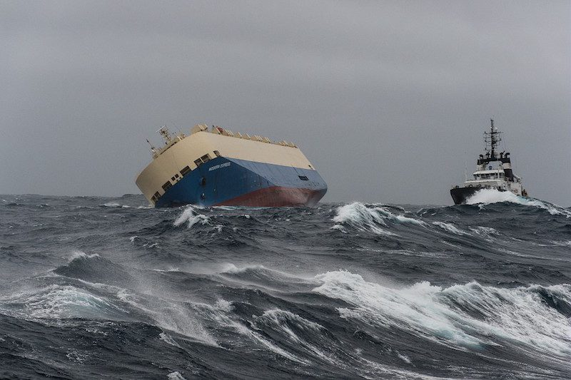 MV Modern Express pictured in the Bay of Biscay, Sunday, January 31, 2016. Photo credit: Marine Nationale