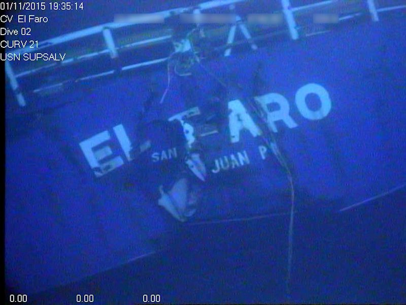 Stern of the El Faro wreck. Photo credit: NTSB