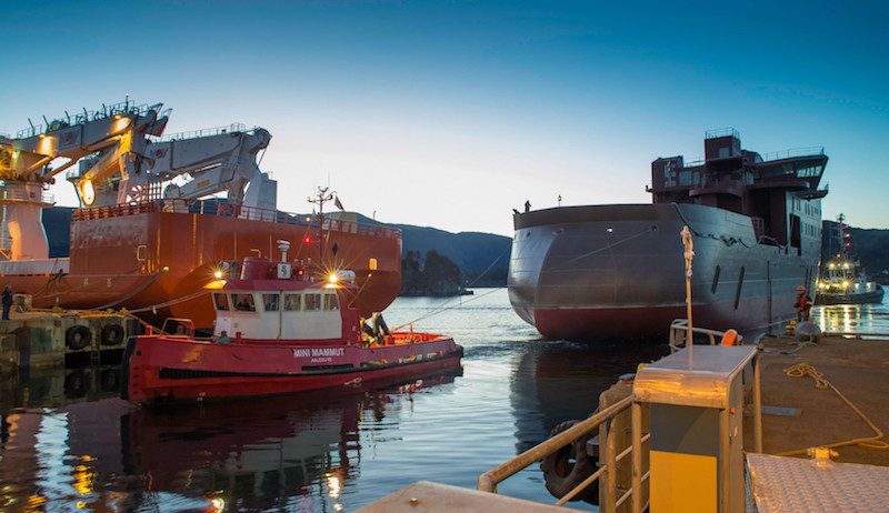 The first of two ULSTEIN SX175 offshore wind service operation vessels arrives at Ulstein Verft in Ulsteinvik, January 3, 2016. Photo: Don Johansson/Ulstein