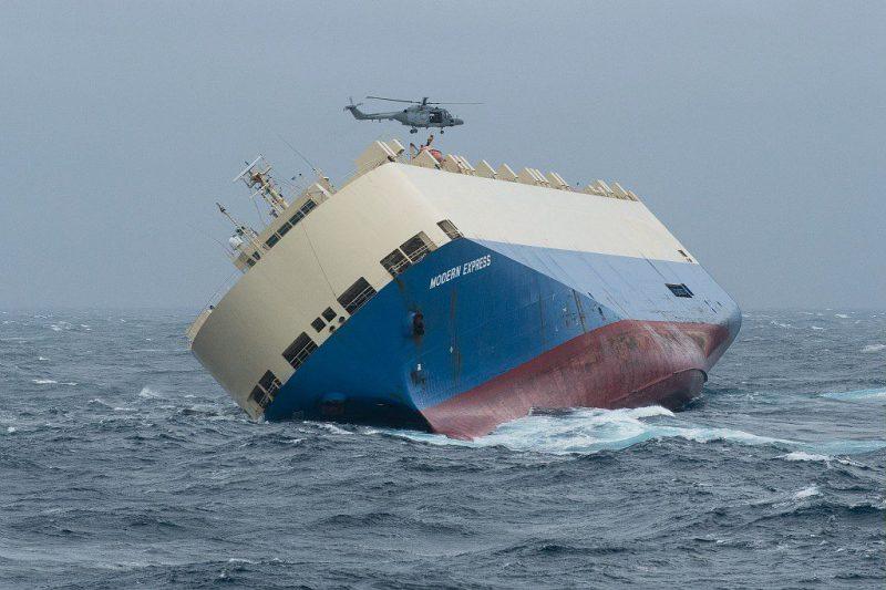 """Cargo """"Modern Express """" le Samedi 30 Janvier 2016 au large des côtes françaises."""