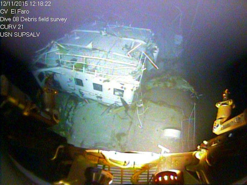 A close up view of the El Faro's navigation bridge, which was shorn off the vessel as it sank off the Bahamas. Photo credit: NTSB