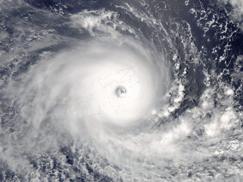 The Aqua satellite captured this picture of Severe Tropical Cyclone Winston at 01:30 UTC on 20 February 2016, during peak intensity and striking Fiji. Later, Winston became the strongest storm to make landfall over Fiji since reliable records.