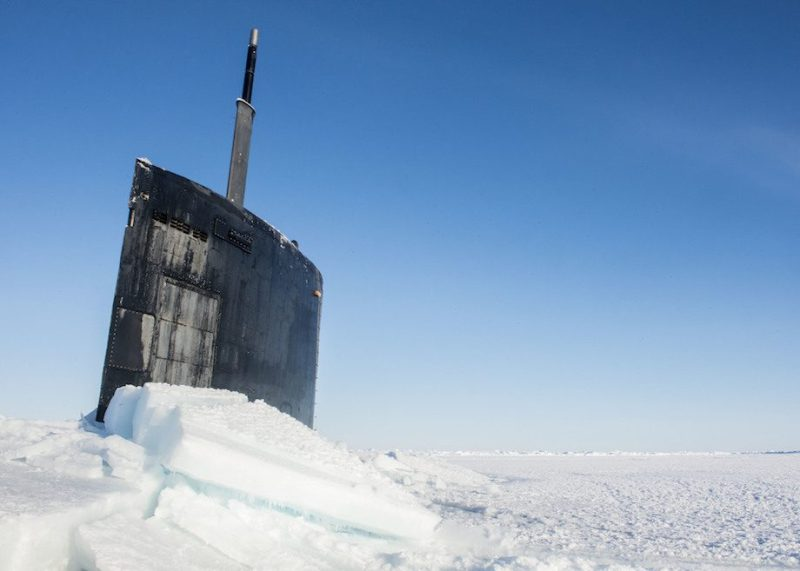 USS Hampton (SSN 757) surfaces through the Arctic ice during Ice Exercise (ICEX) 2016. ICEX 2016 is a five-week exercise designed to research, test, and evaluate operational capabilities in the region. ICEX 2016 allows the U.S. Navy to assess operational readiness in the Arctic, increase experience in the region, advance understanding of the Arctic Environment, and develop partnerships and collaborative efforts. (U.S. Navy photo by Mass Communication Specialist 2nd Class Tyler Thompson)