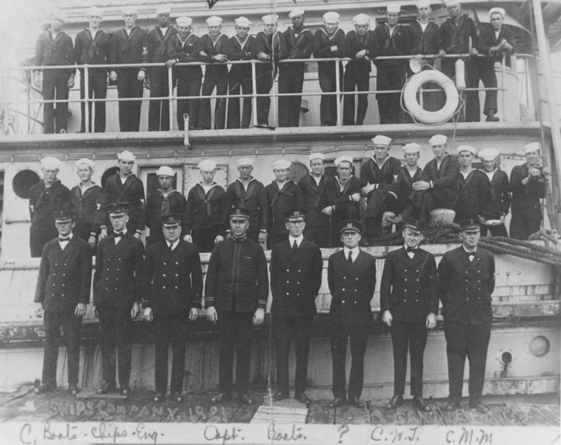Ship's Company beside and on the USS Conestoga, at San Diego, California, circa early 1921, in this handout photo provided by the U.S. Naval History and Heritage Command. A U.S. Navy tug missing since 1921 has been discovered sunk off San Francisco, officials said on March 23, 2016, solving a nearly century-old maritime mystery. REUTERS/U.S. Naval History and Heritage Command Photograph NH 71503/Handout via Reuters ATTENTION EDITORS - NO SALES. FOR EDITORIAL USE ONLY. NOT FOR SALE FOR MARKETING OR ADVERTISING CAMPAIGNS. THIS IMAGE HAS BEEN SUPPLIED BY A THIRD PARTY. IT IS DISTRIBUTED, EXACTLY AS RECEIVED BY REUTERS, AS A SERVICE TO CLIENTS