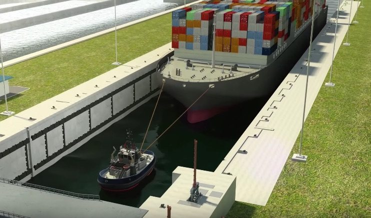 An illustration shows a tugboat guide a ship into the lock of the expanded Panama Canal. Credit: Panama Canal Authority/Youtube