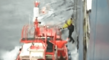 WATCH: Scary Footage Shows Ship Pilot Fall from Ladder