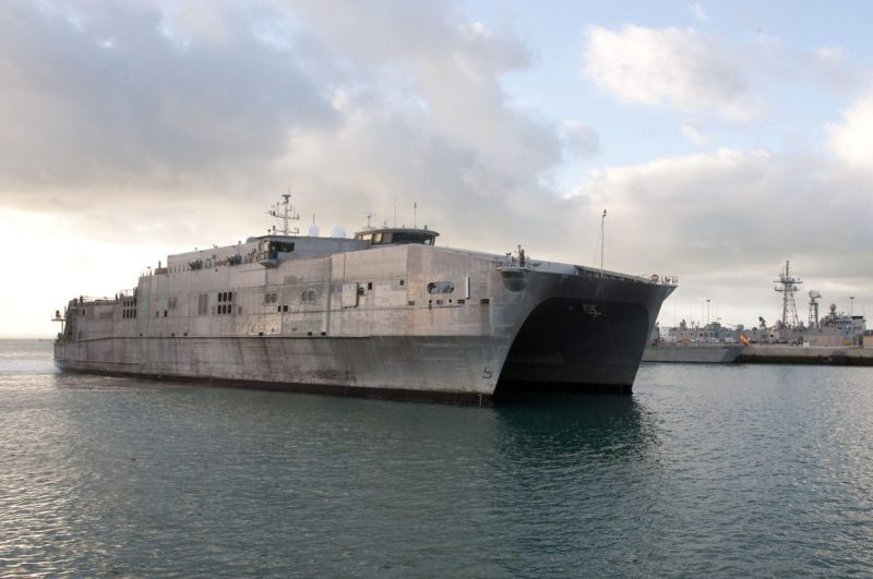 160108-N-MW990-003 NAVAL STATION ROTA, Spain (Jan. 8, 2016) – USNS Spearhead (T-EPF 1) prepares to dock at Naval Station Rota, Spain Jan. 8, 2016. Spearhead, a Military Sealift Command expeditionary fast transport vessel, is on a scheduled deployment to the U.S. 6th Fleet area of operations to support the international collaborative capacity-building program Africa Partnership Station. (U.S. Navy photo by Mass Communication Specialist 3rd Class Michaela Garrison/Released)