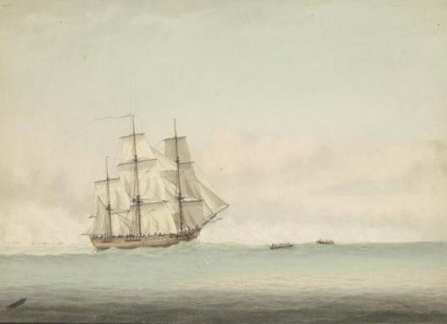 An illustration of HMS Endeavor by by Samuel Atkins c.1794. Creative Commons